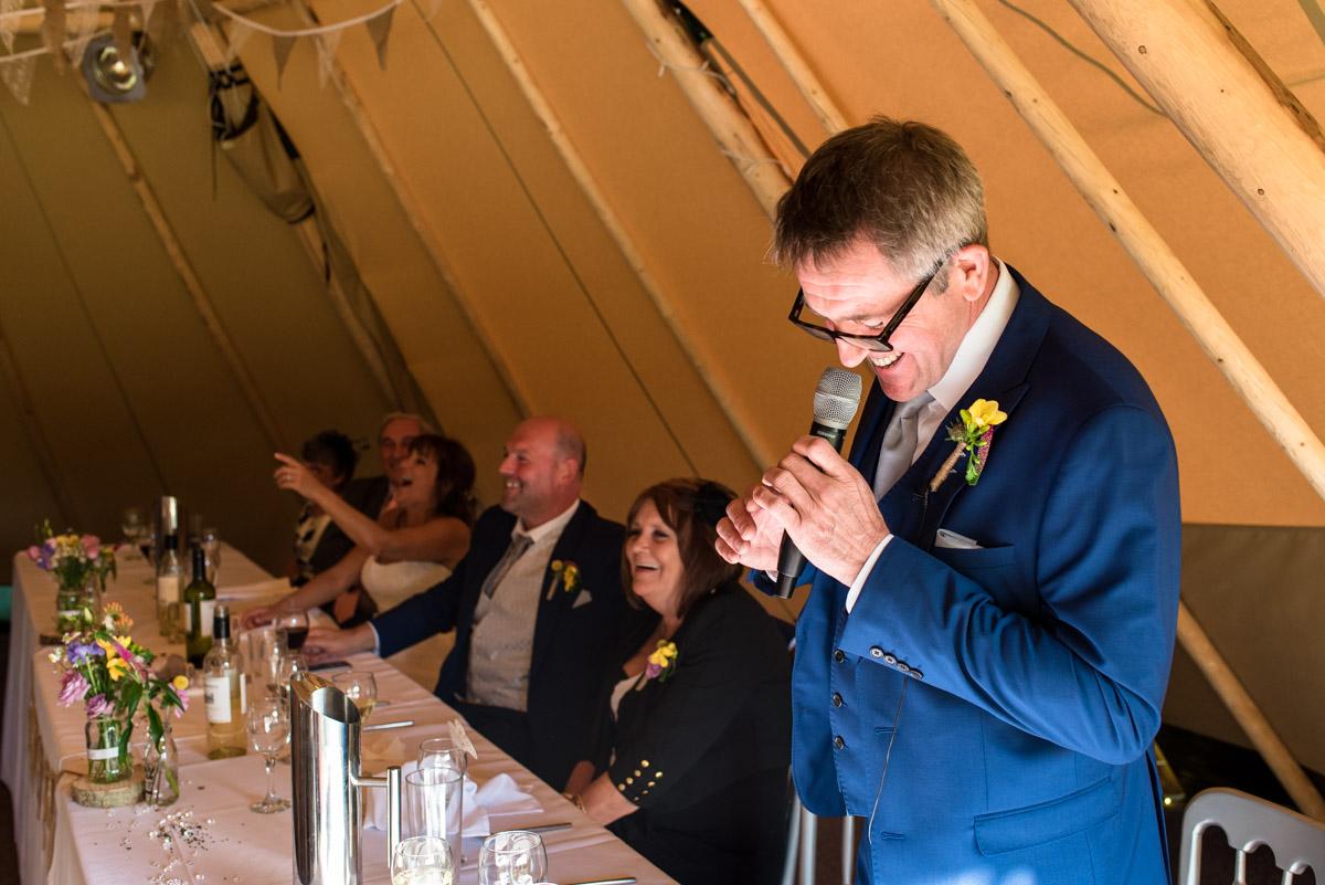 Photograph of best man doing speech at Martin and Debbies Kent wedding