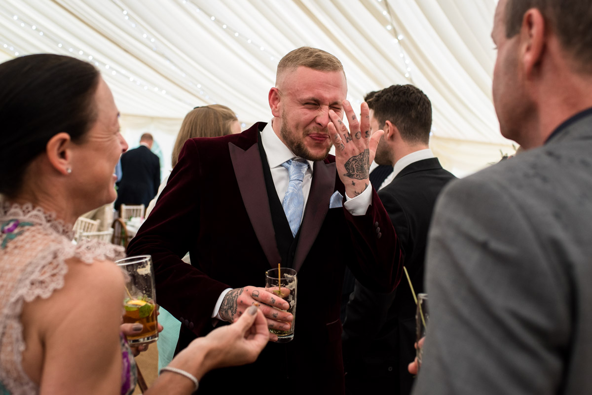 Photograph of wedding guest at Tom and Emily's east sussex wedding
