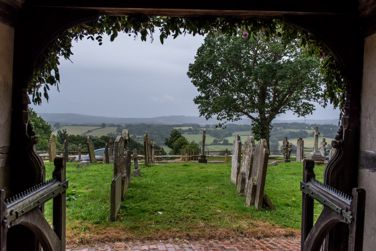 View from east sussex church doors before Tom and Emily's ceremony