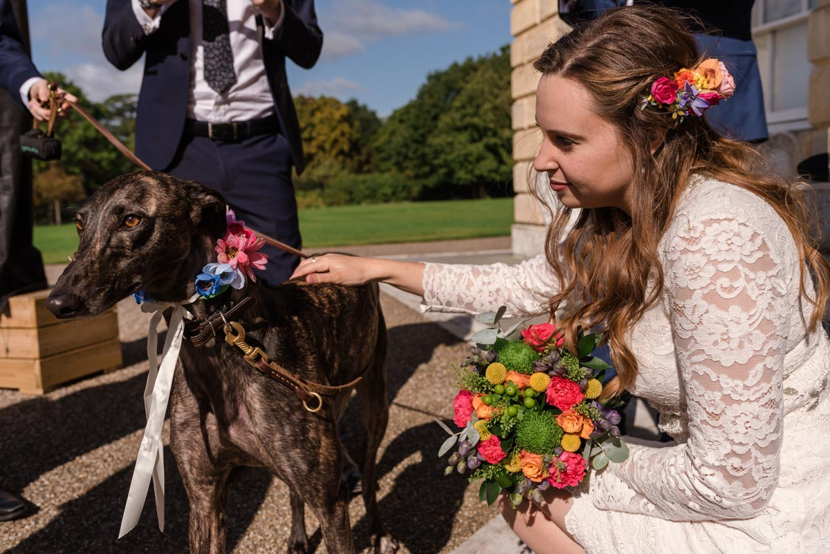 Alex and her dog before her ceremony at Danson House in Kent