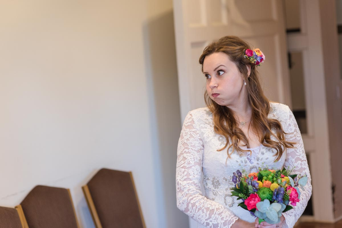 Photograph of Alex before her Danson House wedding in Kent