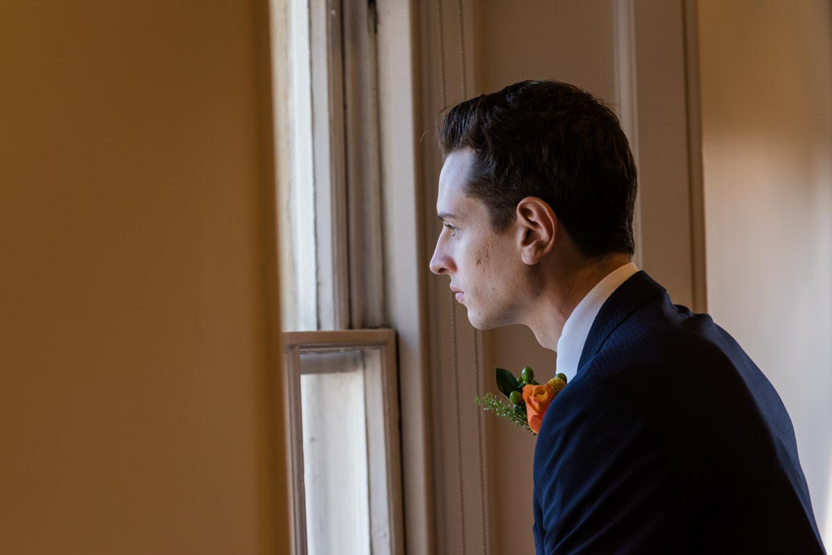 Photograph of James at Danson House before his wedding ceremony