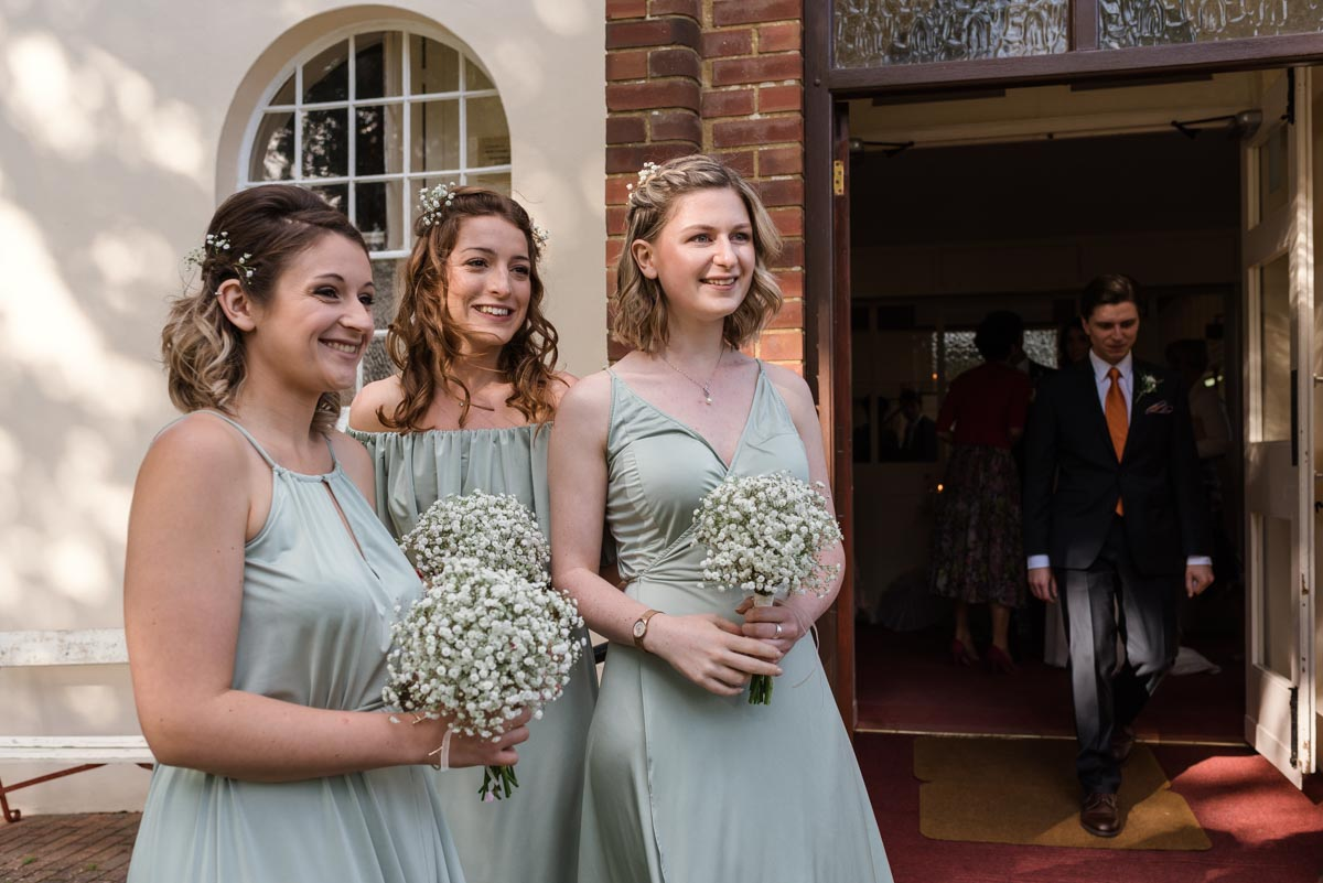 Bridesmaids photographed together at Claire and Stefans wedding in Broadstairs