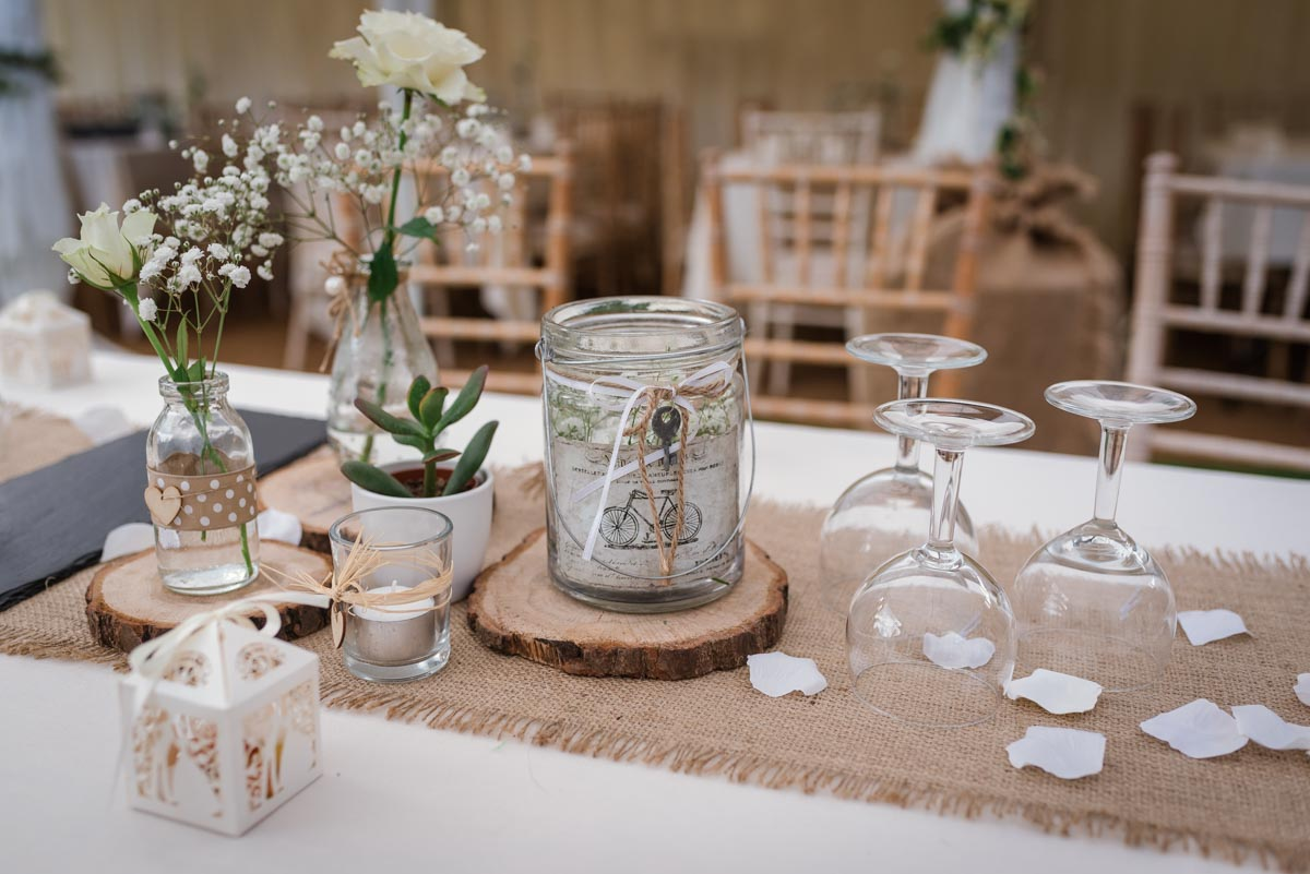 Reception decoration details at Claire and stefan Broadstairs wedding