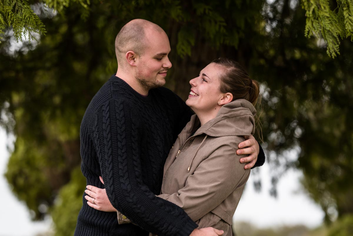 Rachela nd ryan are photographed together during pre wedding farm photoshoot