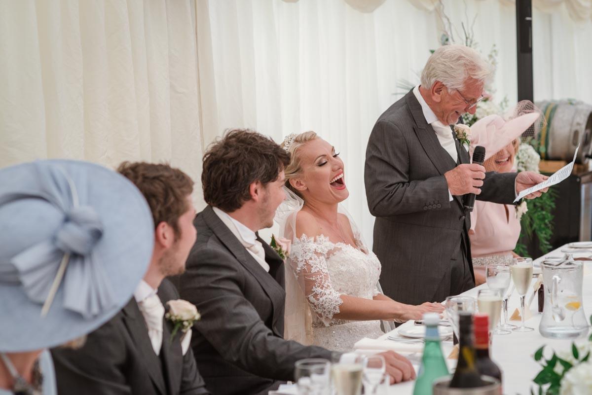 Photograph of Rebeccas dad doing his wedding speech