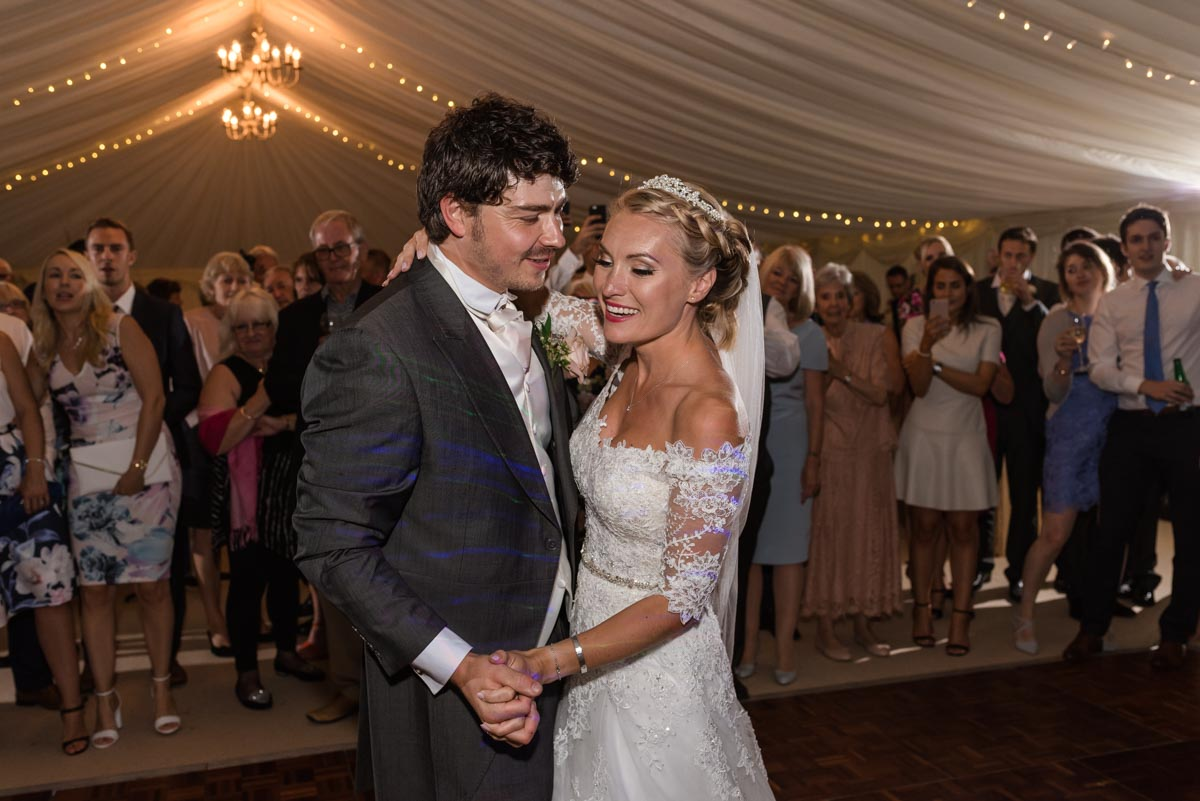 Photograph of James and Rebecca doing their first dance during their Kent wedding