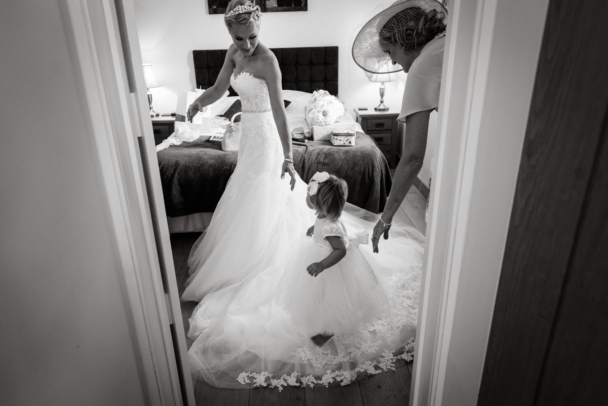 Photograph of Rebecca and her flower girl at darling buds farm in Kent
