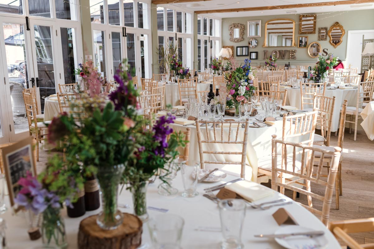 Photograph of inside the Coach house wedding venue at the secret garden in Kent