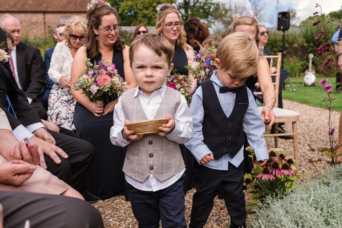 Pageboys at Sarah and Chris's Secret Garden wedding