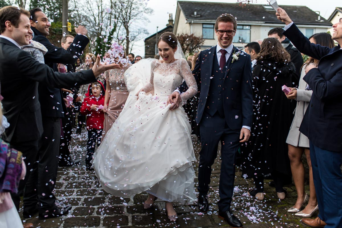 Photograph of confetti throw at Katherine and Toms Yorkshire wedding