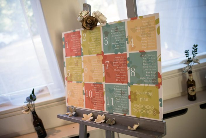 Grid style wedding seating plan with autumn colours