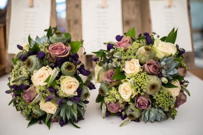 Wedding bouquet in green, mauves and white