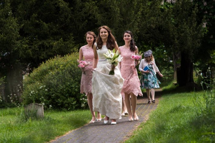 Photograph of pink bridesmaid dresses