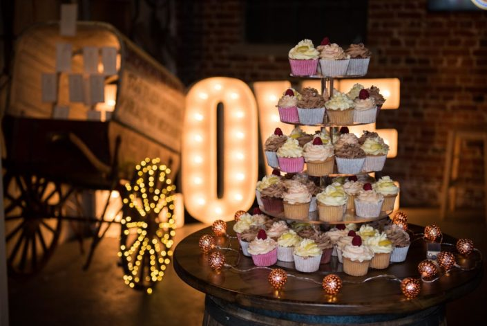 Photograph fo cup cakes at wedding at Shepherd Name Brewery in Kent