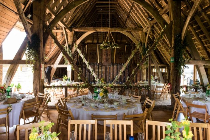 Photograph of wedding decorations inside Ratsbury Barn