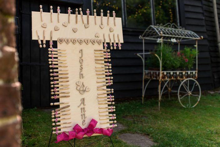 Photograph of seating plan made up of pegs with guests names on