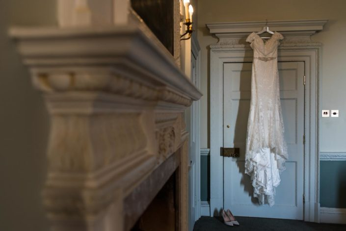 Lace wedding dress photographed at Buxted Park Hotel wedding