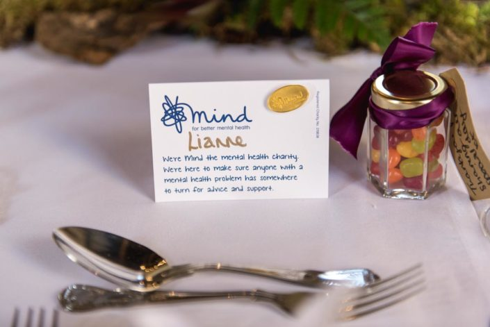 Example of charity name place on wedding table at Lympne Castle in Kent