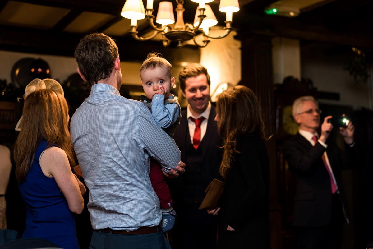 Photograph of baby inside Holdsworth House wedding venue