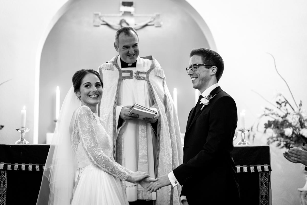 Kent wedding photographer in Yorkshire church photographs bride and groom after taking vows