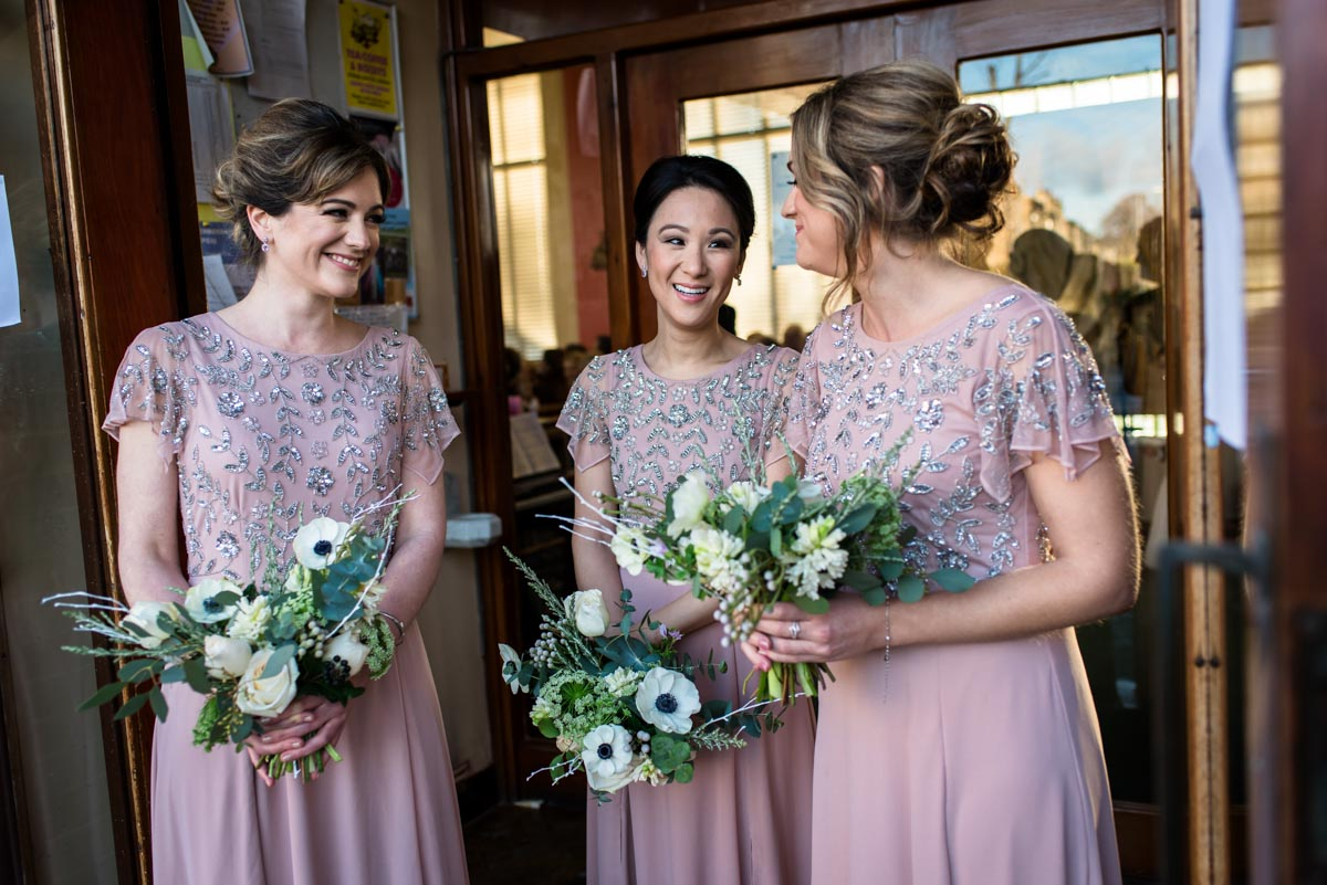 Katherines bridesmaids at church before wedding ceremony