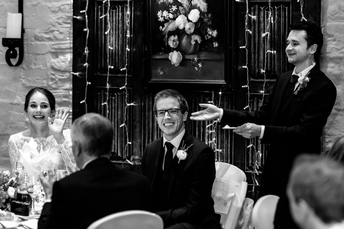 Best man makes his speech at Tom and Ketherines wedding