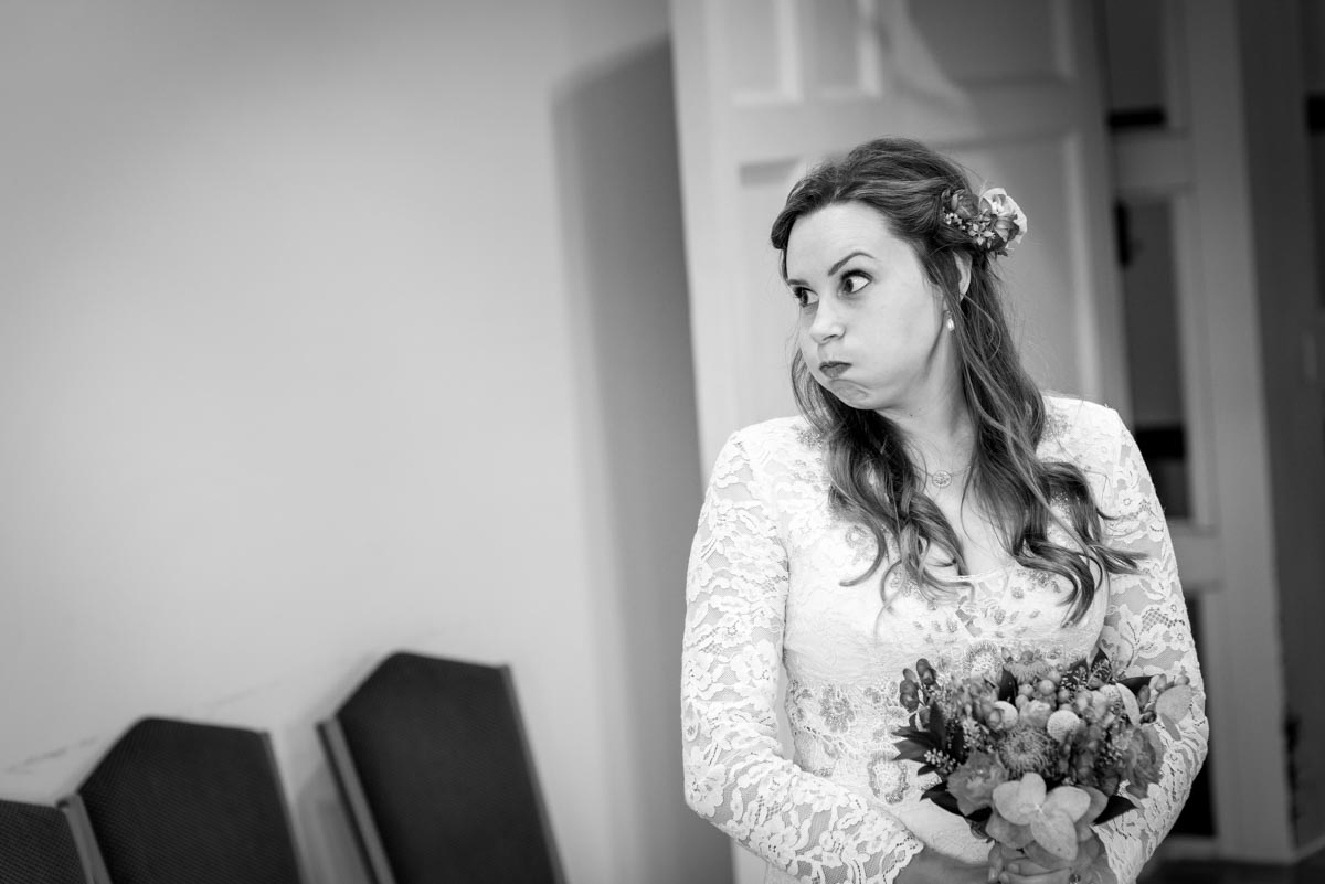 A nervous bride before her wedding