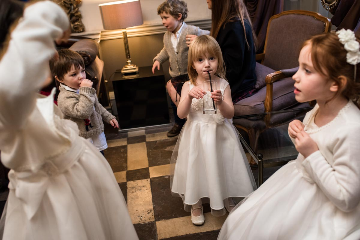 Photograph of children at Jo and Grahams Chilston Park hotel wedding