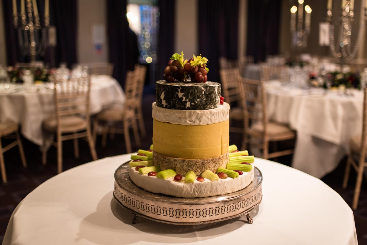 photograph of wedding cheese cake at chilston park hotel winter wedding