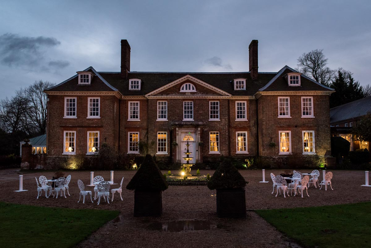 Photograph of outside of Chilston park Hotel in Kent at Christmas wedding