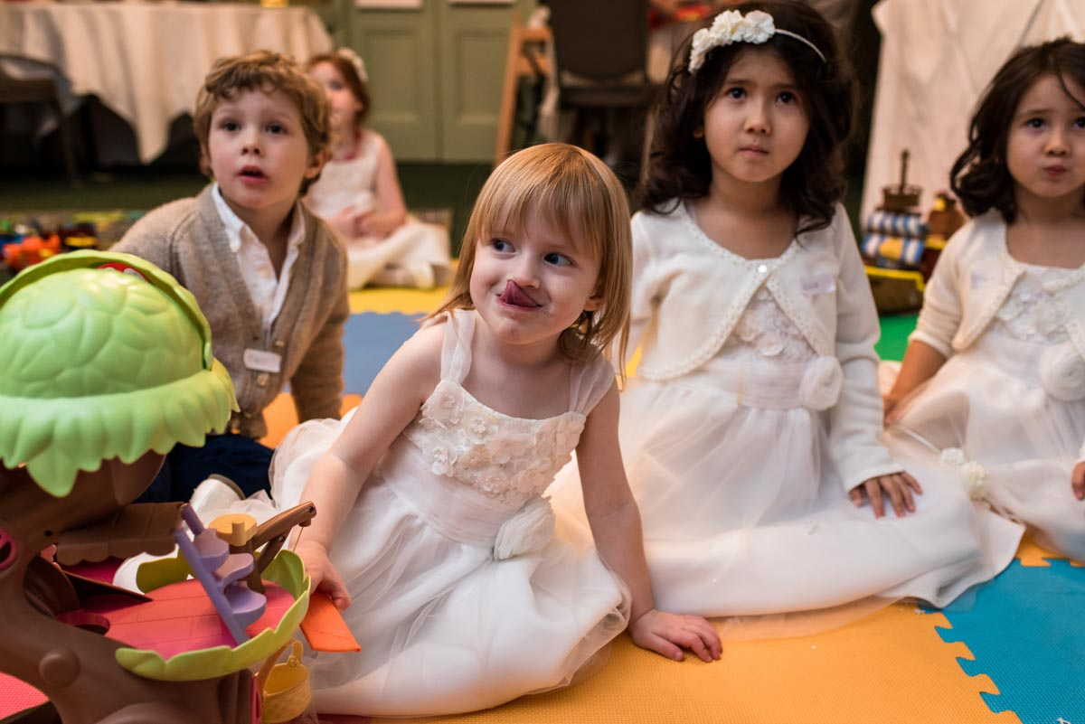 Children in creche at Jo and Grahams Chilston park hotel wedding in Kent