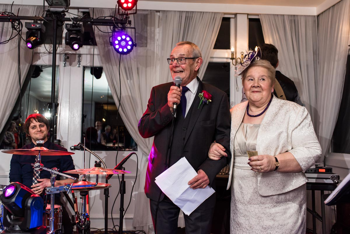 Graham and Jo photographed making a speech at chilston park hotel in kent