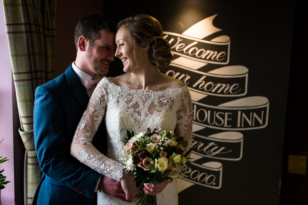 Photograph of Rebecca and Stephen during their Ferry House Inn wedding