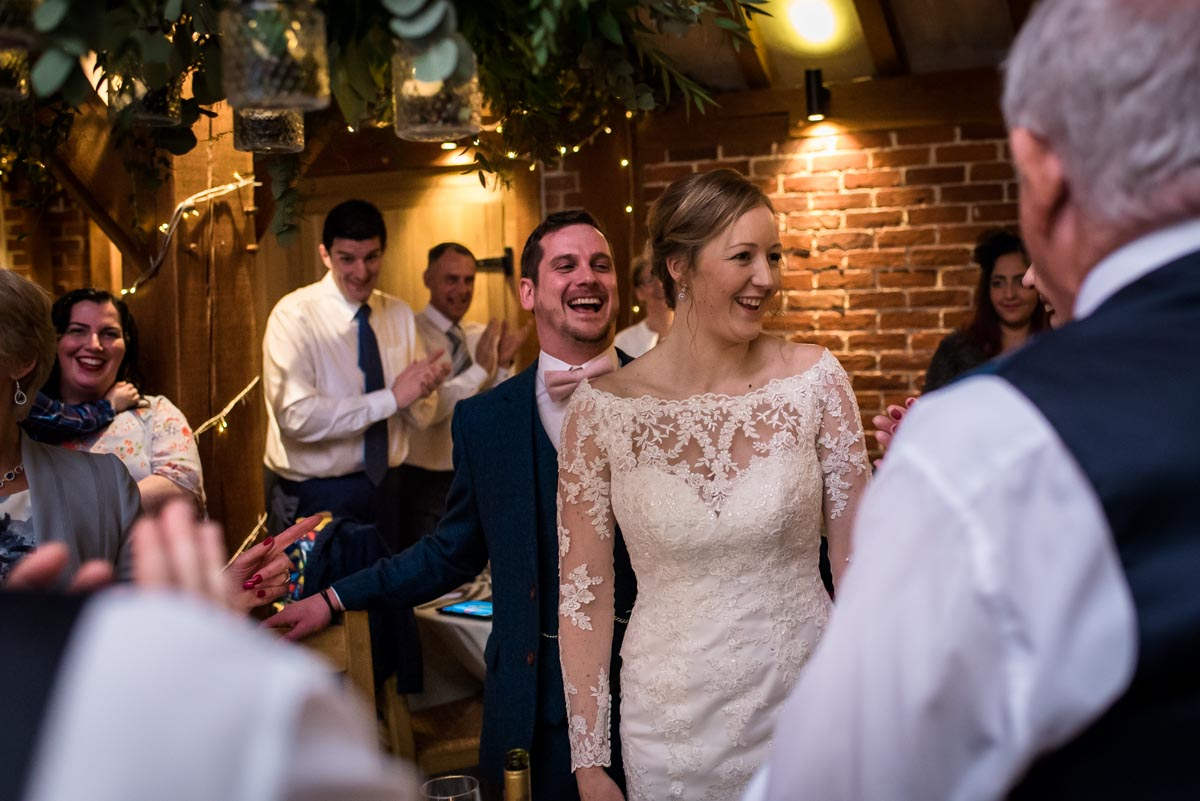 Photograph of Rebecca and Stephen at their Ferry House Inn reception