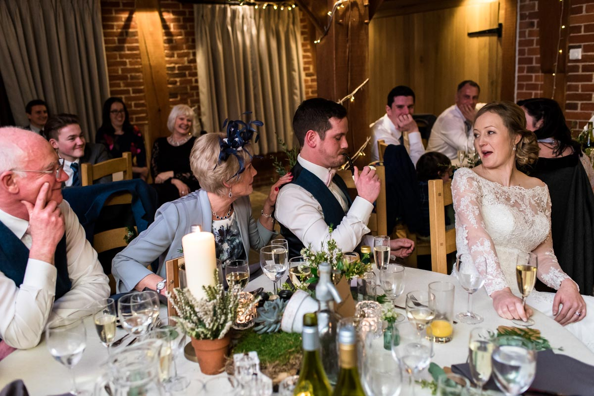 Photograph of top table at ferry House Inn winter wedding