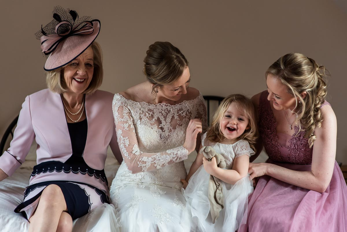 Photograph of Rebecca, mum and flower girl before her Kent wedding