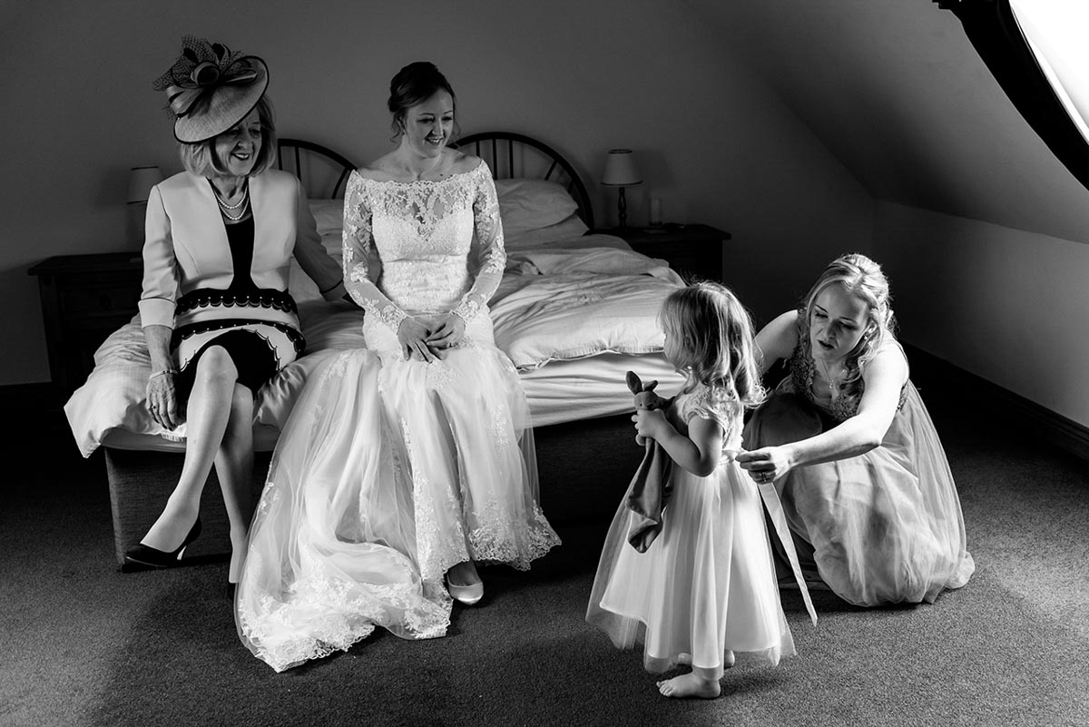 Black and white photograph of Rebecca and her family before her Kent wedding