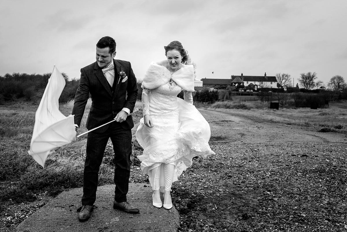 Black and white photograph of Rebecca and Stephen at their Ferry House Inn wedding reception