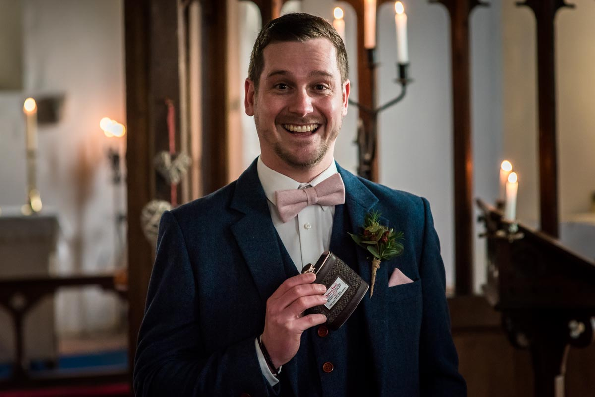 Photograph of Stephen at St Thiomas church in Kent before his wedding ceremony