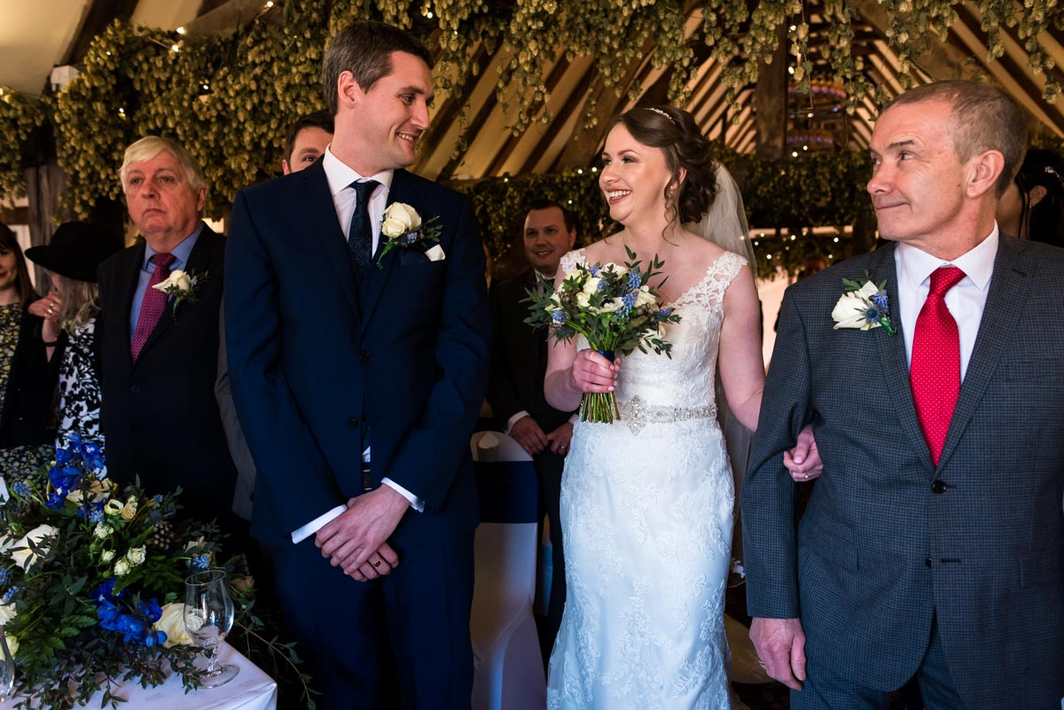 wedding ceremony photography, Liam and Lindsey see each other for first time