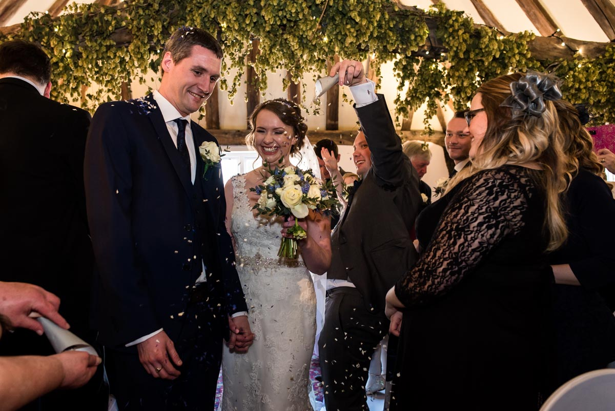 Lindsey and Liam confetti photograph at Visitor centre in faversham Kent