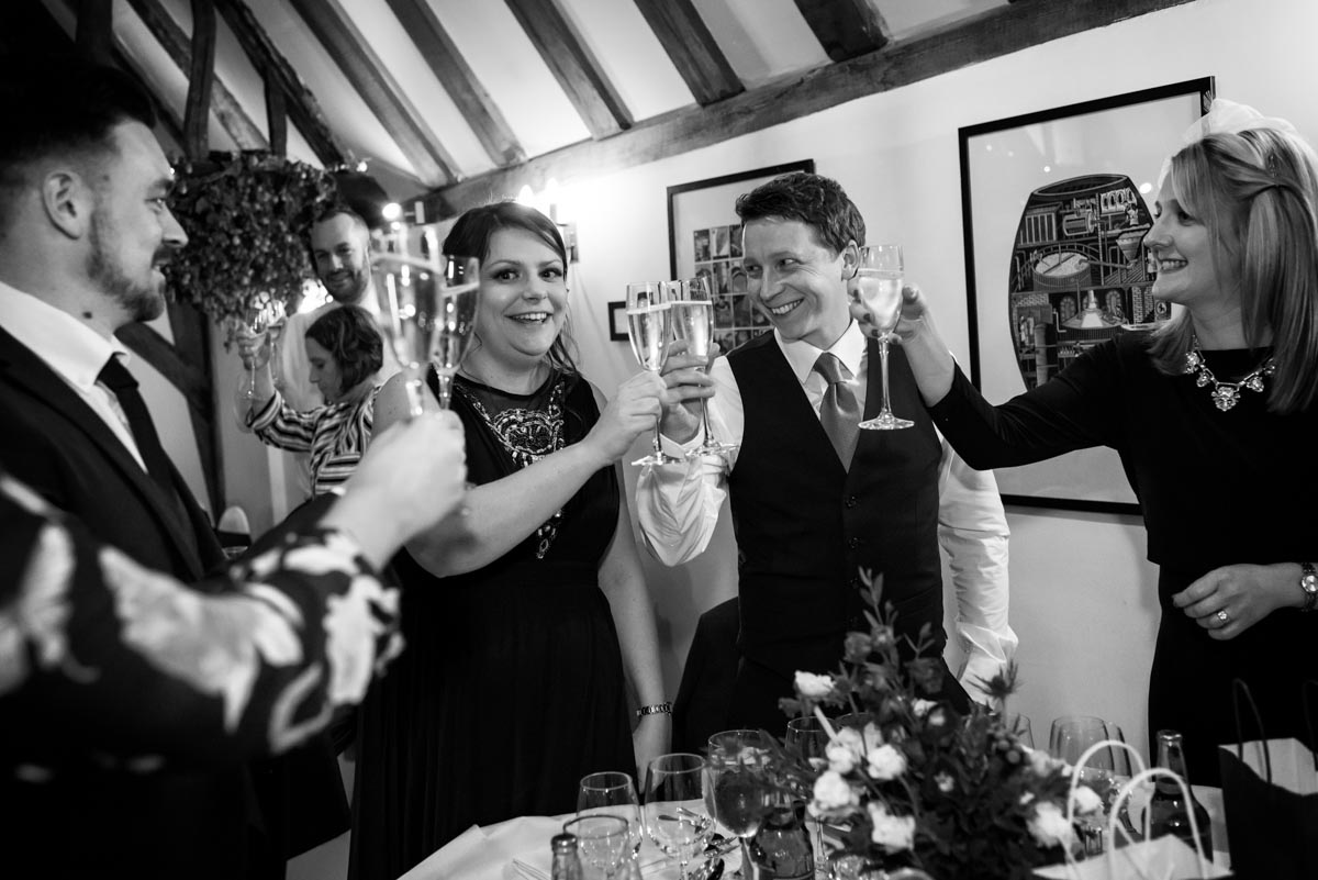 Black and white wedding photography in Kent. Toasts and speeches