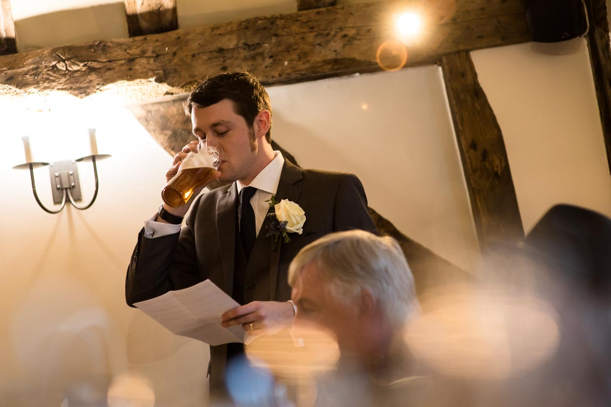 Photograph of Best man during jhis speech at Liam and Lindseys kent wedding