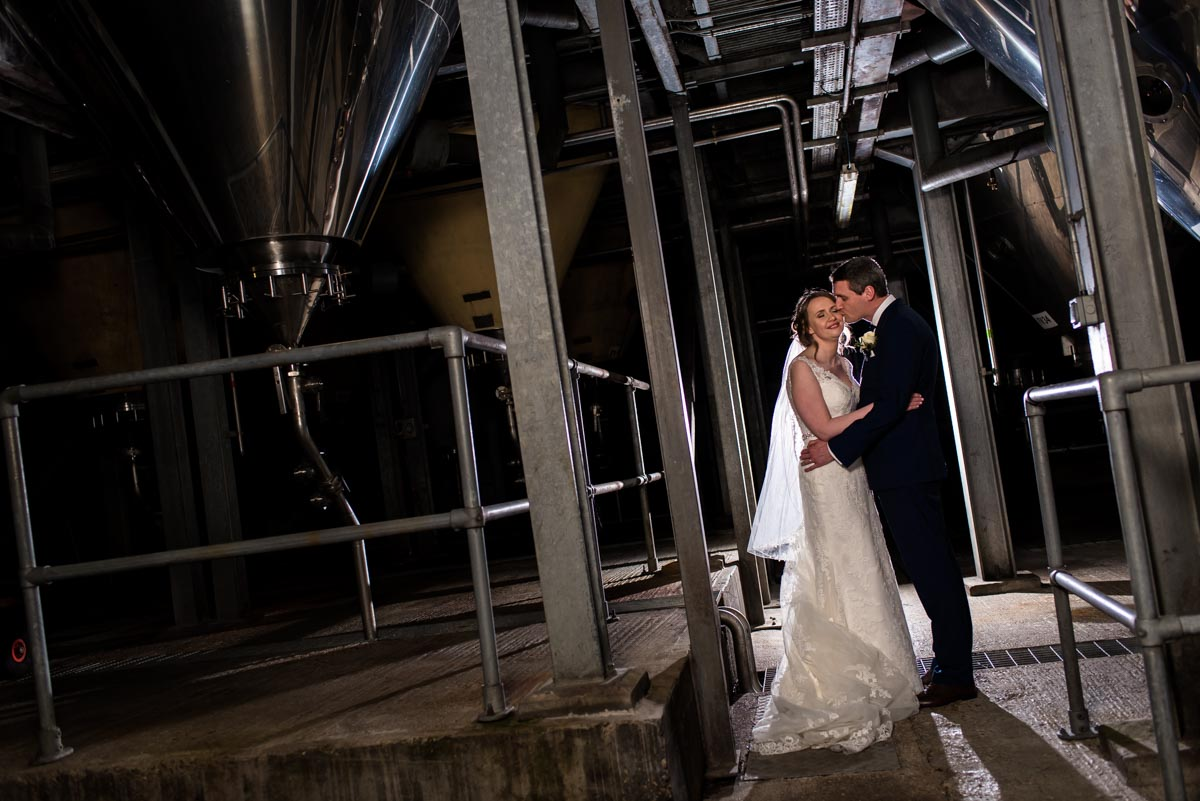 Photograph of Liam and Lindsey at The Shepherd Neame brewery