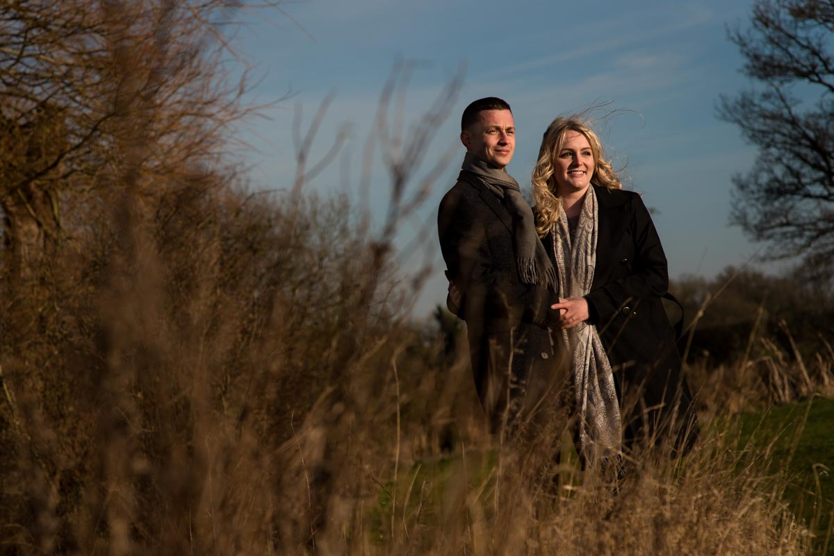 Late afternoon sun for Rob and Amys engagement photography session in Kent