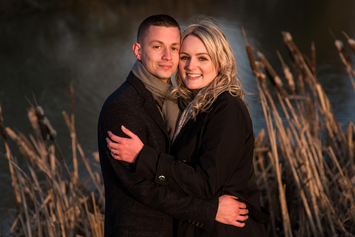 Amy and Rob during their engagement photography session in Kent in freezing winter temperatures