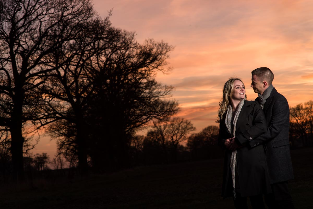 Beautiful sunset during Rob and Amy's engagement photography session in Kent