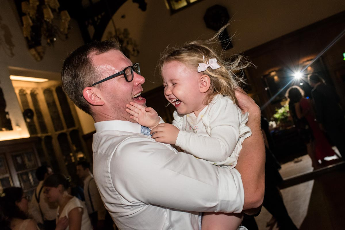Little girl and dad at Grays Inn wedding reception , London