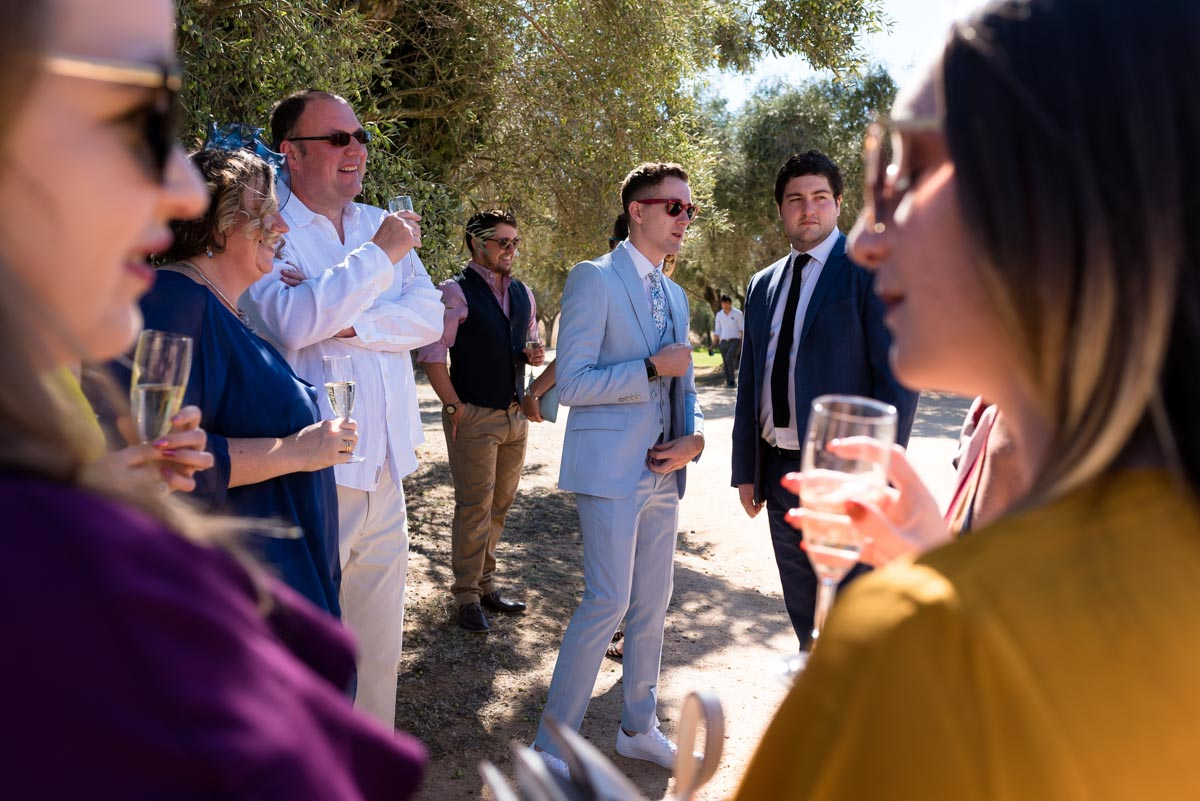 Photograph of wedding guests before matt and rebeccas ceremony at castell d'emporda